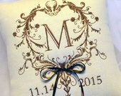 February Feature Sale Wedding Ring Pillow Monogram in Filigree