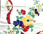 floral table cloth 48 x 48 FLAT  vintage/retro shabby/cottage chic