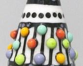 Dalek in Cream--Handmade Lampwork Glass Bead