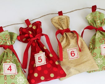 Set of 25 Gold Foil themed Christmas Advent, fabric bag, Calendar. Count down 12 days of Christmas. Polka dot scroll gift bags. Embroidered