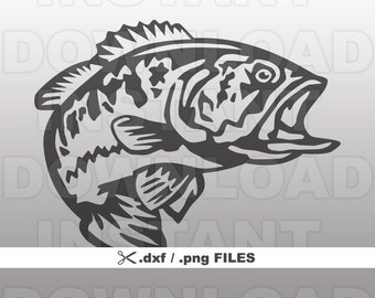 Fishing DXF File,Bass DXF,Largemouth Bass DXF File-Vector Clip Art png / dxf files for Commercial & Personal Use-Cricut,Cameo,Silhouette