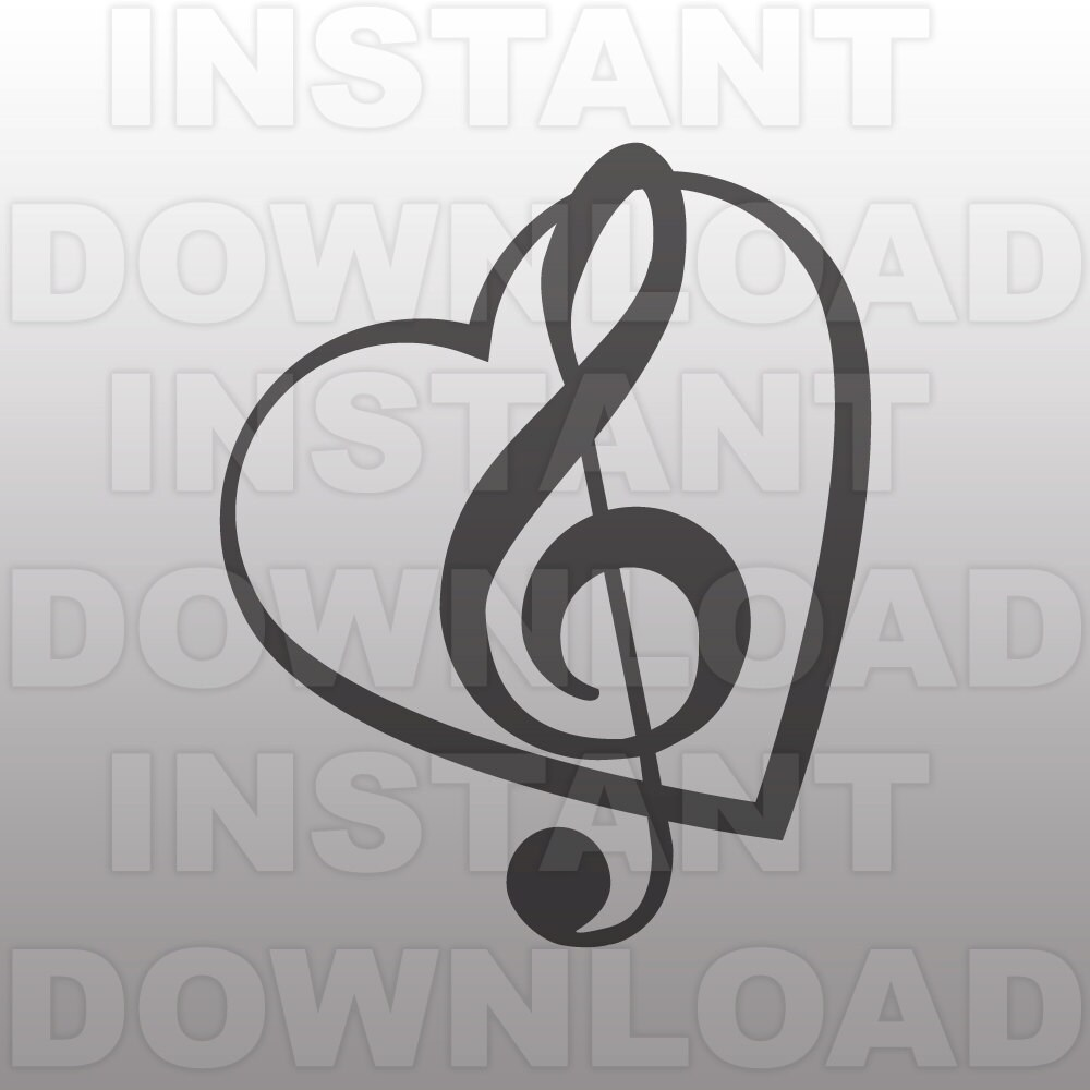 Music SVG FileTreble Clef Heart SVGMusic Note SVG-Vector