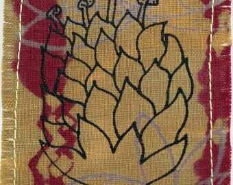 Original fiber art ACEO, protea flower, red and gold, surface designed textile, artist trading card, miniature art, flower art, screenprint