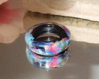 Artisan Opal Handmade Lampwork Glass Bead Focal Scarf Ring Slider- Bastets Beads- SRA-Dark Opal