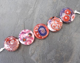 Coral, pink and purple SSLs - SRA handmade glass lampwork beads - Lori&Kim
