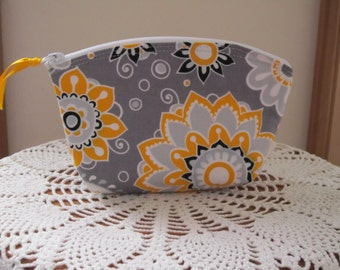 Cosmetic Bag Clutch Purse Dots in Funky Flowers in Gray Essential Oils case Wedding Clutch