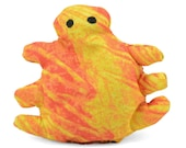 cat toy, catnip bug, catnip toy, catnip pellet toy, yellow orange batik fabric