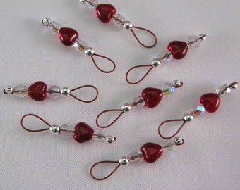 Garnet Heart Stitch Markers on Brick Red Wire - US 10 - Item No. 698