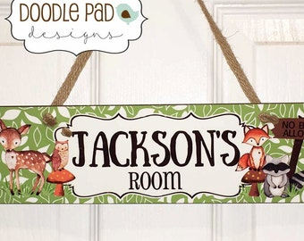 Woodland Friends Door Sign, Personalized Wall Decor