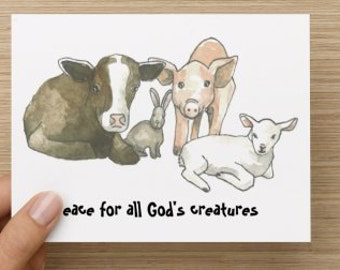 Peace for All God's Creatures Vegan Cruelty-Free Holiday Folded Greeting Card