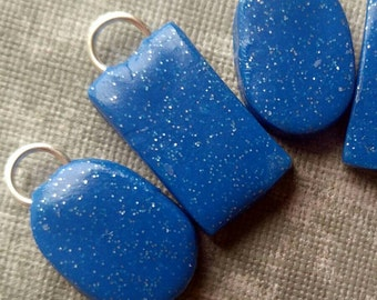 Sparkly Blue Rectangles and Oval Stitch Markers