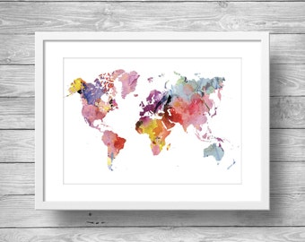 Rainbow Watercolor world map | Printable wall art | Printable Geography cartography wall art  | Printable watercolor world map