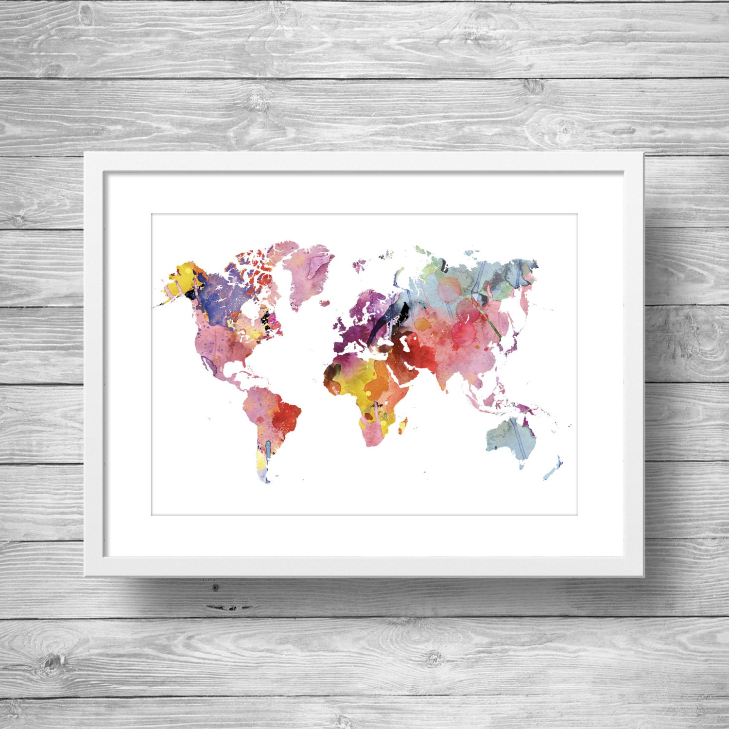 rainbow watercolor world map printable wall art printable. Black Bedroom Furniture Sets. Home Design Ideas