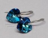 Bermuda Blue Swarovski Crystal Heart and Sterling Silver Earrings