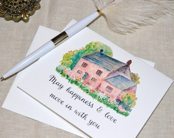 "Watercolor Cottage ""Happiness and Love""  Printed Housewarming Card with envelope"