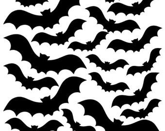 Halloween Bats vinyl decals - 19 vinyl bats - Temporary Halloween vinyl decor