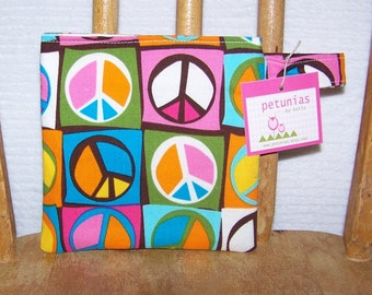 Reusable Little Snack Bag - pouch adults kids peace sign eco friendly by PETUNIAS