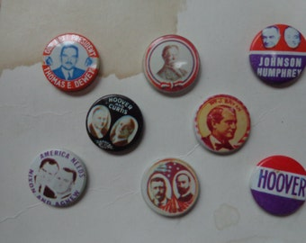 Antique/Vintage/ Collectible Presidential Button Assortment Nixon Lodge Roosevelt Dewey Warren  Humphrey Davis and many more Capaign Buttons