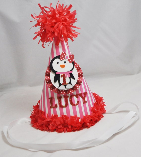Girl Penguin Party Hat 1st Birthday Winter By