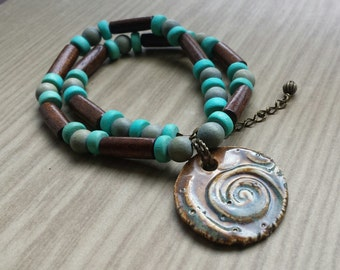 Wood Waves Pendant Necklace