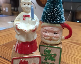Two vintage toy blocks Christmas ornaments