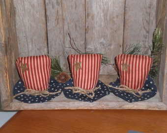 3 Primitive Patriotic Rustic USA Red White & Blue July 4th Americana Uncle Sam 1776 American HATS Flag Bowl Fillers Ornies Ornaments Tucks