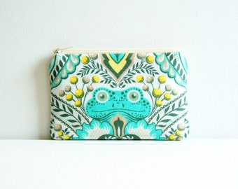 Coin Purse, Small Zipper Pouch, Women and Teens, Frog Prince in Honey, Tula Pink Prince Charming