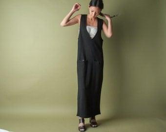 knit deep v black dress / vest dress / minimalist dress / s / 1952d