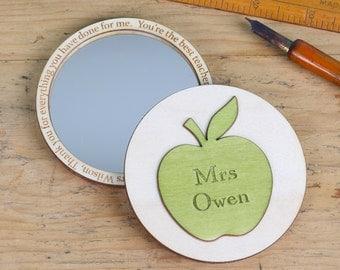 Personalised Teachers Thank You Apple Compact Mirror - end of term gift - teachers gift - thank you teacher - best teacher