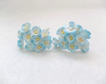 20 15mm white blue mulberry paper mini hydrangea flowers - paper flowers