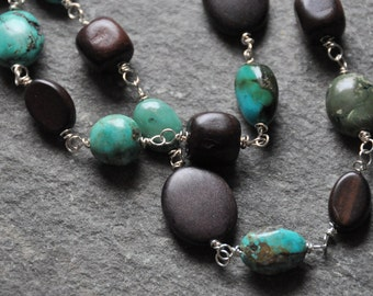 Long linked turquoise and wood necklace