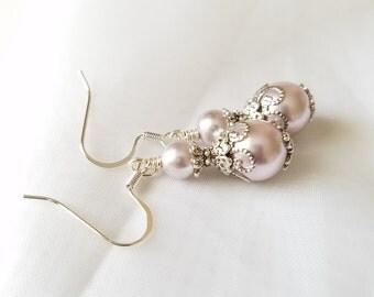 Bridesmaid Jewelry Set of 5 Lilac Lavender Pearl Earrings, Jewelry Bridesmaids Gift Bridal Purple Pearl Drop Dangle Earrings