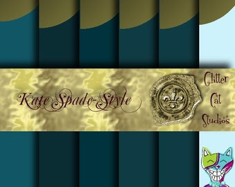 12 x 12 Teal gold dot journal scrapbooking digitial download design modern foil-effect original graphics