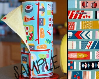 Tree Saver Towels - Fruit Gum - Reusable, Eco-Friendly, Snapping Paper Towel Set - Cotton and Terry Cloth