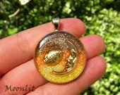 Blessed Harvest Moon Resin Pendant - Gold-toned Moon Charm, Pagan Jewelry, Wiccan Adornment