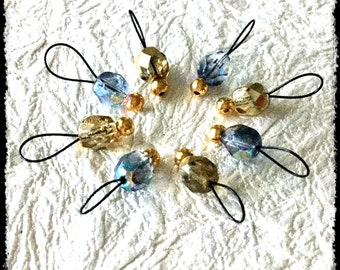 Snag Free Stitch Markers Small Set of 8 - Gold and Blue Faceted Czech Glass -- K86 -- Up to size US 8 (5.0mm) Knitting Needles