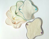 "6 Reusable Organic Cloth Panty Liners (undyed pack of 6 Moonlites, standard 7.5"" length washable pantyliner cloth pads)"