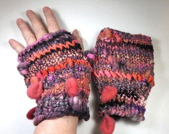 SeeJayneKnit Mitts (Handspun Yarn) OOAK Art Yarn -- Dirt and Worms