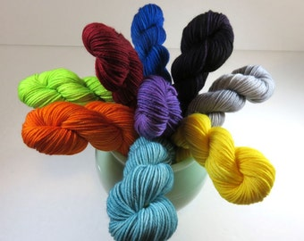 Hand Dyed SW Merino/Nylon 4-Ply Sock Yarn -- Mini Skeins 20 Grams / 92 Yards Each -- A La Carte Semi-Solid Colorways