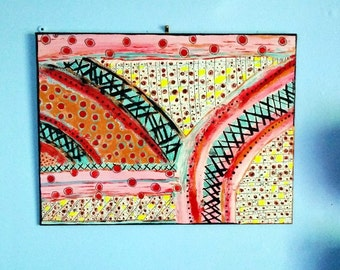 Original Abstract Intuitive Art Hand Painted 12 x 9 Canvas Board Acrylic and Ink Dots Crossing Boho Art