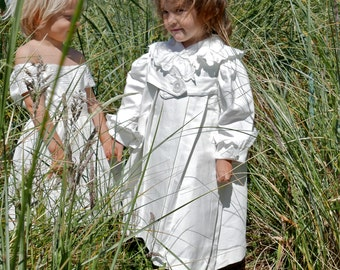 Victorian White Ribbed Cotton Coat Size 4