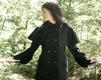 Victorian Cape Collar Wool Coat Size Small US 4 to 6