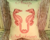 Always and Forever Handmade Vintage Seahorses In Love Printed Pillow, Wedding Gift, Anniversary Gift