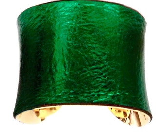 Leather Cuff Bracelet in Metallic Emerald Green - by UNEARTHED