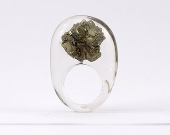 Unique Pyrite Ring, Classic Clear Resin Ring with Pyrite