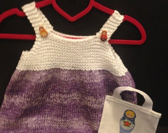 Girl's knitted pinafore Top With Tote, Matryoshka, Purple