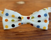Boys Bow Tie - cream bowtie with polka dots - boys cotton custom tie - baby infant toddler child preteen boy - wedding bow tie - smash cake