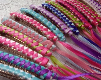 Ribbon Barrettes Party Pack of 6 / YOUR CHOICE of Assorted Colors