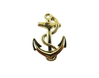 18k Gold Plated Anchor and Rope Charms (2x) (M561-C)