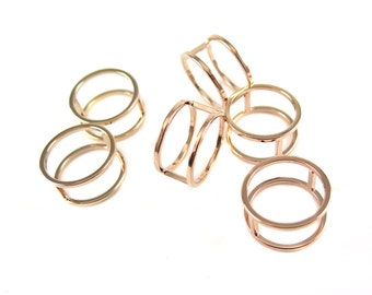 Rose Gold Plated Geometric Square Wire Ring - Circle (1x) (K500-D)